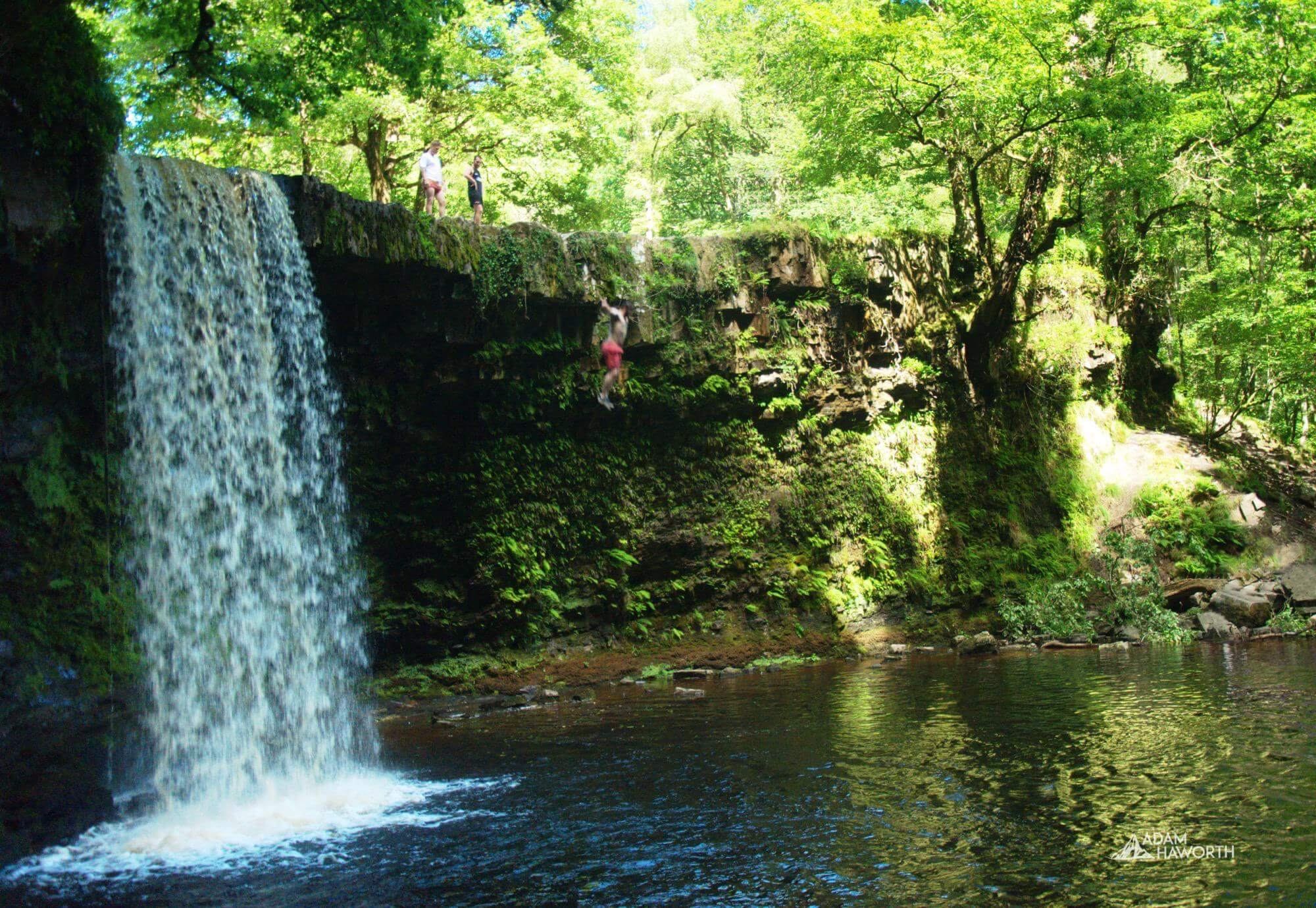Waterfall jumping in Waterfall Country, Brecon Beacons